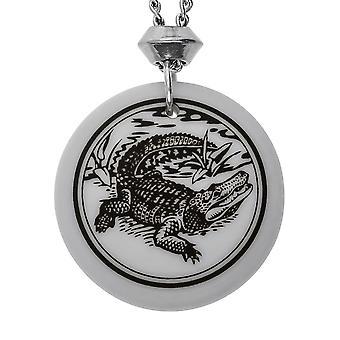 Handmade American Alligator Totem Round Shaped Porcelain Pendant