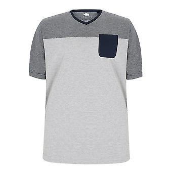 BadRhino Navy & Grey Marl Stripe V-Neck Pocket T-Shirt - TALL