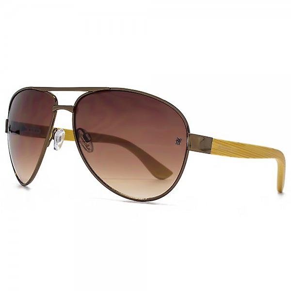 Fenchurch Bamboo Temple Pilot Sunglasses In Shiny Brown