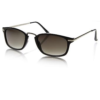 Designer Inspired Narrow Horn Rimmed Style Sunglasses with Metal Arms