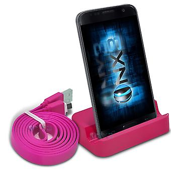 Samsung Galaxy A3 (2016) Desktop USB Base Stand Data Sync Charging Dock Station + Data Sync Cable (Pink)