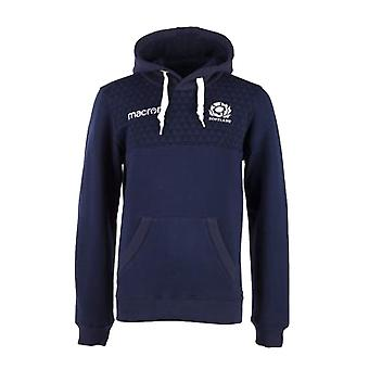 2017-2018 Scotland Macron Rugby Heavy Cotton Hoody (Navy) - Kids