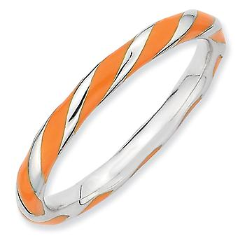 Sterling Silver Twisted Orange Enameled 2.4 x 2.0mm Stackable Ring - Ring Size: 5 to 10