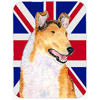 Collie Smooth with English Union Jack British Flag Glass Cutting Board Large Siz