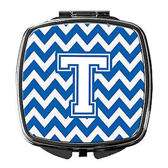 Carolines Treasures  CJ1045-TSCM Letter T Chevron Blue and White Compact Mirror