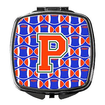 Letter P Football Green, Blue and Orange Compact Mirror