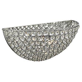 Searchlight 6161CC Chantilly 2 Light Wall Light Chrome - Crystal/Glass