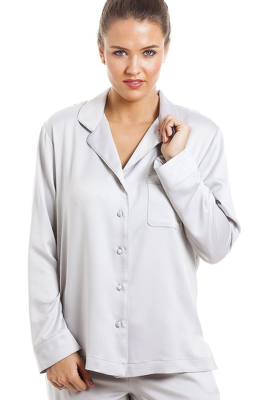 Camille Luxurious Silver Full Length Satin Pyjama Set  ae2938ed4