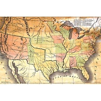 Antique USA Map Poster Poster Print