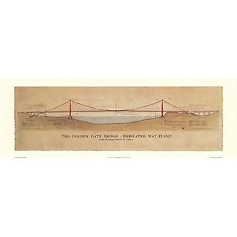 Impresión del cartel de puente Golden Gate por Jim Holmes (38 x 13)