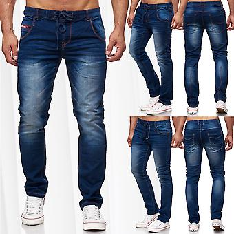 Mens Jogg trousers straight cut jeans denim stitching elastic waistband stone washed