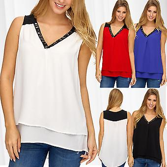 Ladies blouse top asymmetrical back long front short sequined sleeveless loose