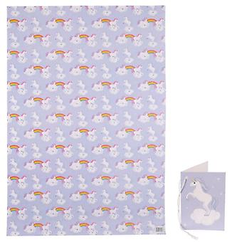 Gift Wrap Sheet and Gift Tag - Unicorn Rainbow