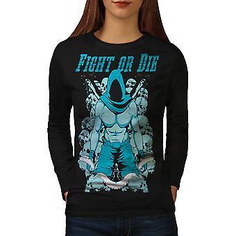 Vechten of sterven T-shirt van de koker van de BlackLong van vrouwen van de Sport van sportschool | Wellcoda