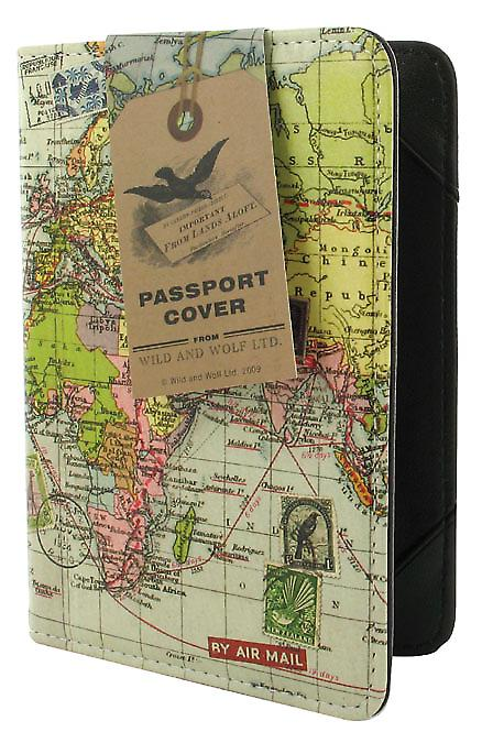 Passport Holder with World Map in Travel Range