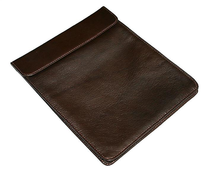 Luxurious Chocolate Leather & Silk iPad Cover