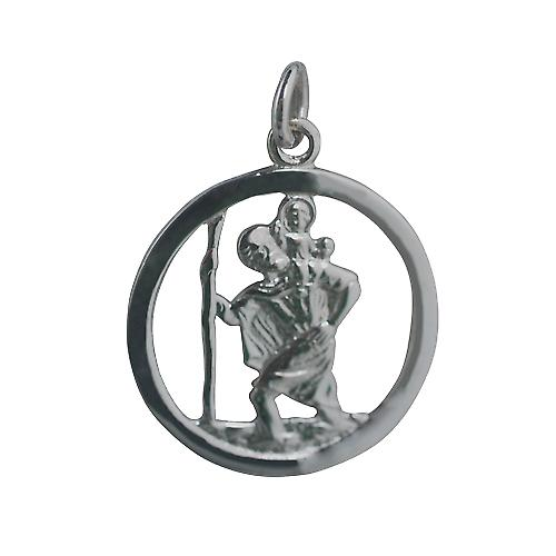 9ct White Gold 25mm round pierced St Christopher Pendant