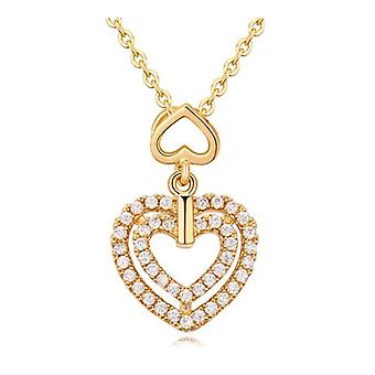 Womens Girls Double Heart Pendant Necklace Gold BG1343