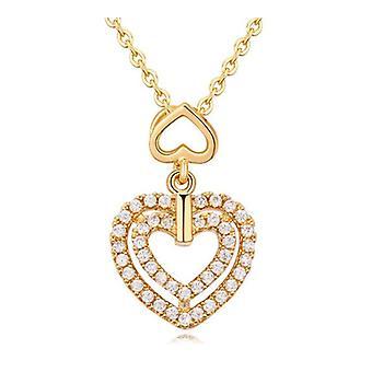 Womens flickor Dubbel hjärta hänge halsband guld BG1343