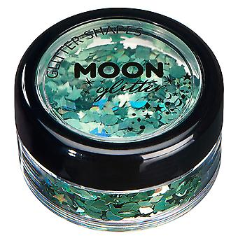 Holographic Glitter Shapes by Moon Glitter – 100% Cosmetic Glitter for Face, Body, Nails, Hair and Lips - 3g - Green