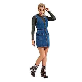 Denim Zip Front Mini Dress Sleeveless Midwash Jean Dress