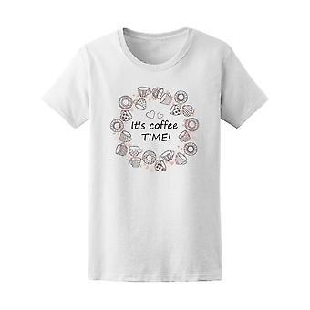 Es ist Kaffee-Zeit! Kaffee Kranz T-Shirt Frauen-Bild von Shutterstock