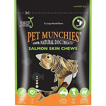 PET Munchies perro tratar salmón piel masticar, 125 gramos (paquete de 2)
