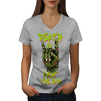 Tode Slogan Ende Frauen GreyV-Neck T-shirt   Wellcoda