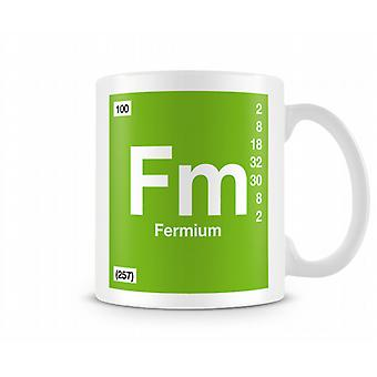 Element Symbol 100 Fm - Fermium Printed Mug