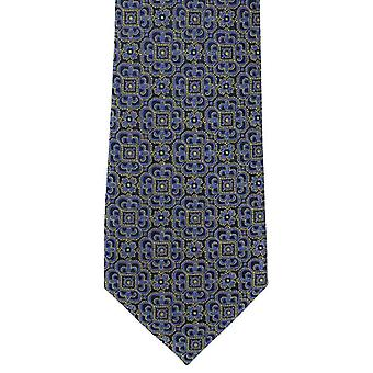 Michelsons of London Ornate Medallion Silk Tie - Yellow/Blue