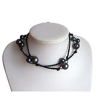 Gemshine - damer - halskæde - perle 925 sølv - 60 cm - Tahiti - grå - læder-