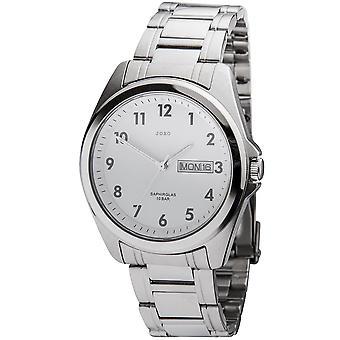 JOBO armbåndsur kvarts analog rustfrit stål dato Herreur