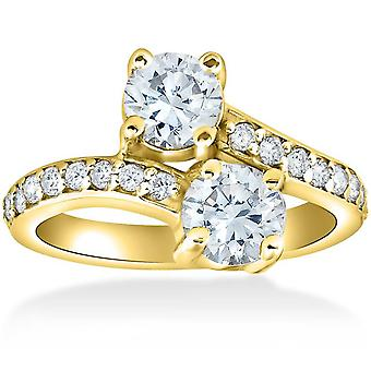 2 ct voor eeuwig ons 2 Stone Diamond Engagement Ring 14k Yellow Gold