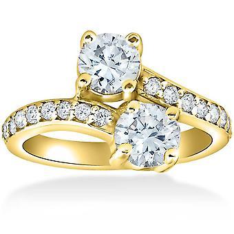 2 ct na zawsze nas 2 kamień diament pierścionek zaręczynowy 14k żółte złoto