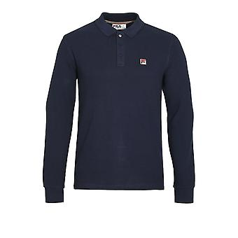 Fila Vintage Bertoni Long Sleeve Slim Fit Polo Shirt | Peacoat