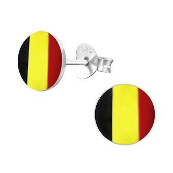 Belgium Flag - 925 Sterling Silver Colourful Ear Studs - W24434x