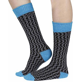 Terwilliger recycled cotton patterned crew socks in cobalt | By Sidekick