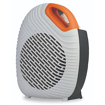 Kingavon 2KW Orange & White Electric Portable Upright Fan Heater with Thermostat