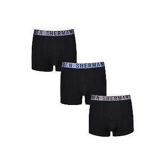 Ben Sherman ondergoed mannen 3 Pack Boxer Trunk broek zwart rood blauw Wyndham