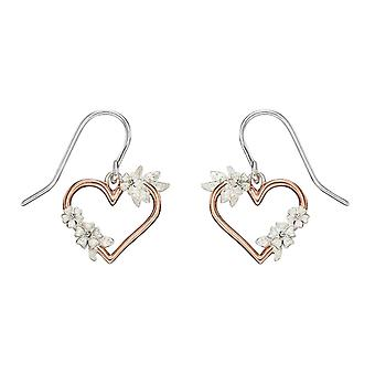 Elements Silver Floral Cut Out Heart Drop Earrings - Silver/Rose Gold