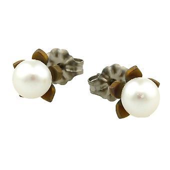 Ti2 Titanium Small Flower and Pearl Stud Earrings - Tan Beige