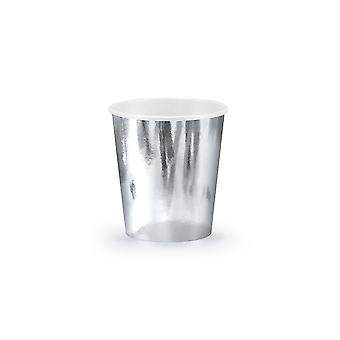 6 metallic silber Party Pappbecher - 180ml | Kids Party Cups