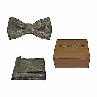 Heritage Check Moss Green Bow Tie & Pocket Square Set - Tweed, Plaid Country Look | Boxed