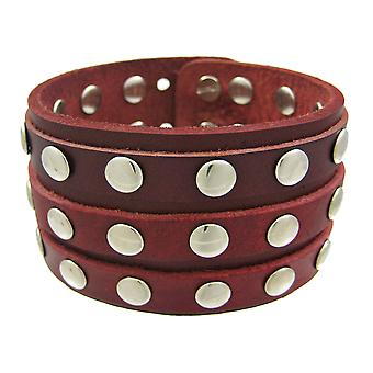 Brown Leather 3 Row Metal Studs Wristband Wrist Band
