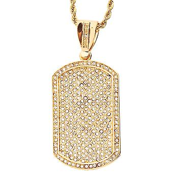 Iced Out Bling Hip Hop Kette - DOG TAG gold