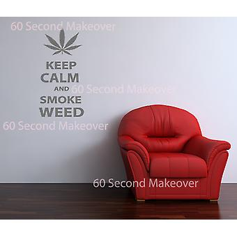 Keep Calm And Smoke Weed Novelty Wall Sticker