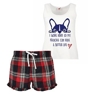 I Work Hard So My Frenchie Can Have A Better Life Ladies Tartan Frill Short Pyjama Set Red Blue or Green Blue
