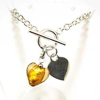 Toc Sterling Silver Bracelet With Yellow Murano Heart Charm & T-Bar