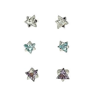 Toc Sterling Silver Set Of Three Star Shaped Stud Earrings