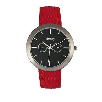 Simplify The 6100 Canvas-Overlaid Strap Watch w/ Day/Date - Black/Red